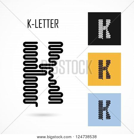 Creative K- letter icon abstract logo design vector template.Creative K- alphabet vector design.Business and education creative logotype symbol.Vector illustration