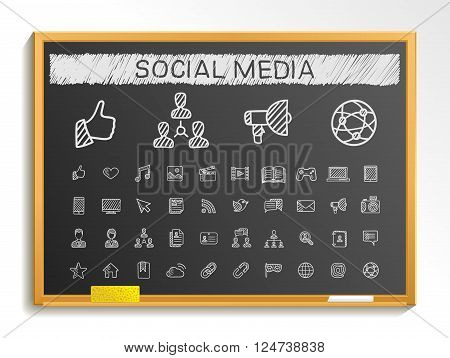 Social media hand drawing line icons. Vector doodle pictogram set. chalk sketch sign illustration on blackboard with hatch symbols, post, like, blog, forum, share, online, profile, relationship.