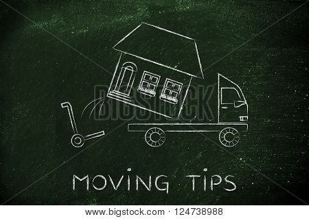 Entire House Being Loaded On Truck, Moving Tips