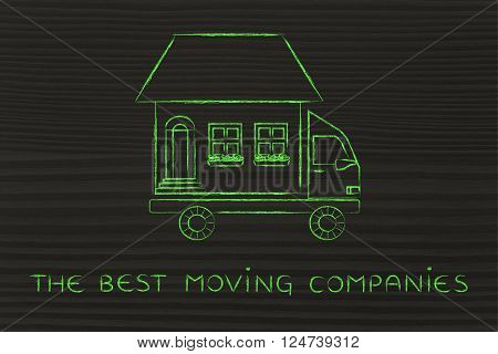 the best moving companies: house traveling on moving company truck funny metaphor
