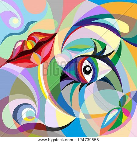 Abstract portrait of Womans face with mosaic pattern