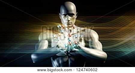 Man Holding Molecule and Cradling a Precious Commodity 3D Illustration