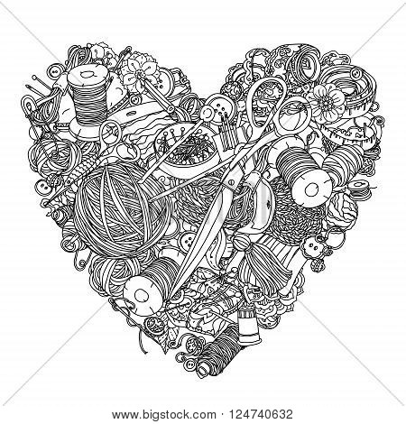Clothes buttons, needles, thread, pins, scissors. Hand-drawn needlework items black and white ornament in heart shape. Could be use  for adult coloring book  in zenart style.  Zentangle.
