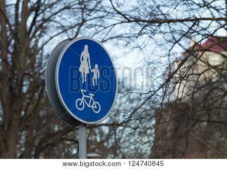 Bycicle or walking roads and sidewalk sign in Tallinn
