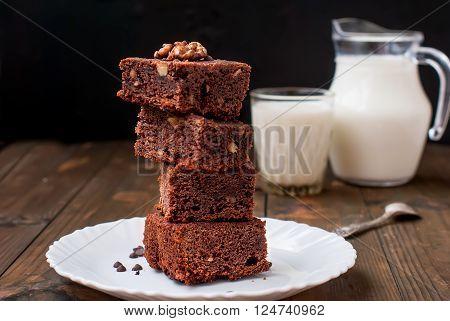 Homemade Chocolate Brownie Cake And A Glass Of Milk,