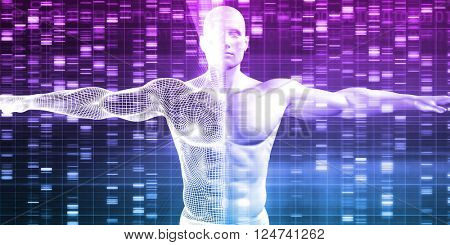 Genetics with Science Data as a Futuristic Concept 3D Illustration