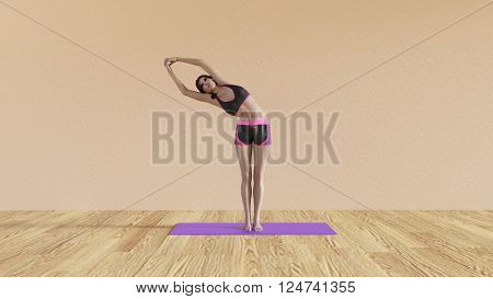 Yoga Class Half Moon Pose Illustration with Female Instructor  3D Illustration