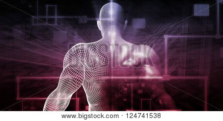 Digital Health System Software and Body Technology as Concept 3D Illustration