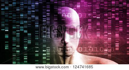 Medical Technology with Scientist Engineer on DNA Background 3D Illustration