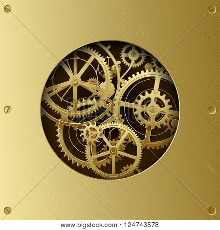 Metallic gear wheels in the brass plate with cut round hole. Circle with gears. Techno background. Vector Illustration