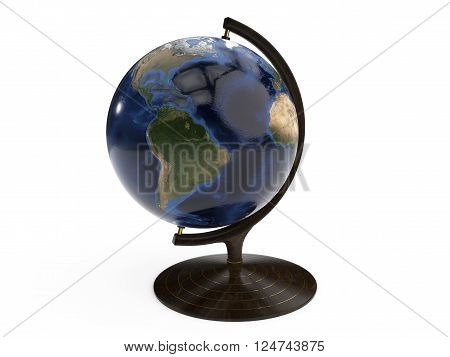 Detailed earth globe isolated on a white background. 3D Illustration.