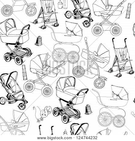 Vector illustration of hand drawn seamless pattern of baby prams, carriages and strollers. Template for wrapping paper, wallpaper, newspaper and printable.