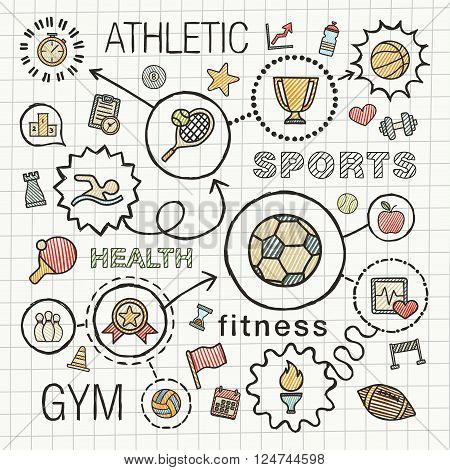 Sport hand draw integrated icons set. Vector sketch infographic illustration with line connected doodle hatch pictogram on school paper, competition, ball, play, soccer, tennis, cup sign, game concept