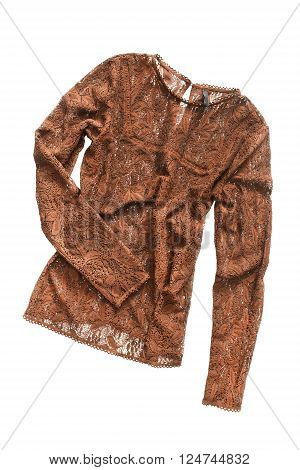 Lacy crumpled terracotta blouse on white background