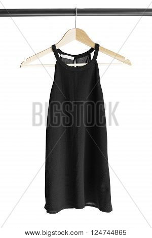 Black halter top on clothes rack isolated over white