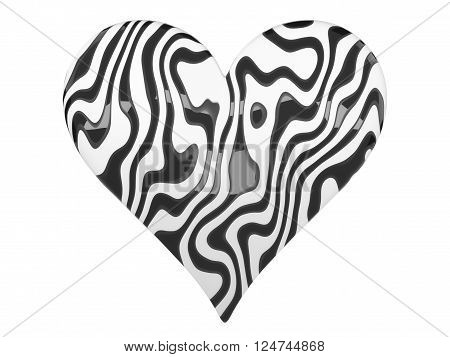 Zebra styled black and white glossy heart symbol isolated on a white background.