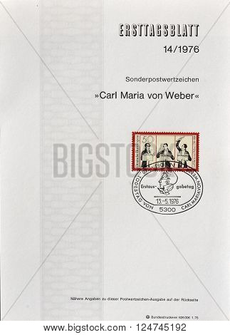 GERMANY - CIRCA 1976 : Cancelled First Day Sheet printed by Germany, that shows Carl Maria von Weber.