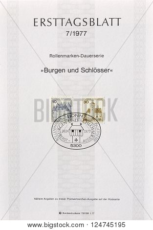 GERMANY - CIRCA 1977 : Cancelled First Day Sheet printed by Germany, that shows German castles.