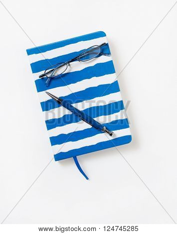 Striped Journal with Glasses & Pen
