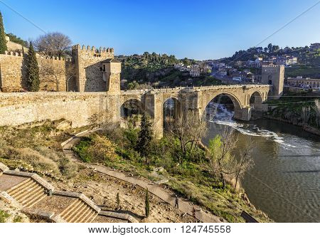 Puente De San Martin Bridge Over The Tajo River In Toledo, Spain.