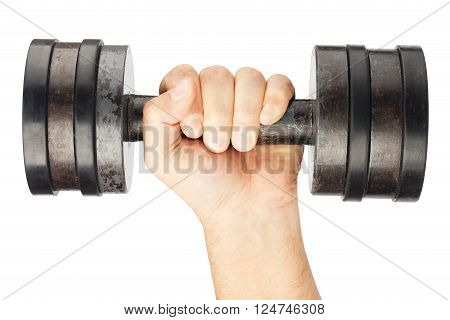 Old dumbbell with removable weights in hand isolated on white