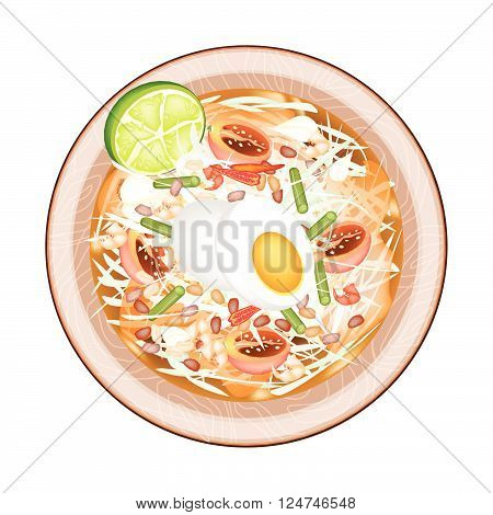 Cuisine and Food Plate of Green Papaya Salad with Fermented Salted Egg. One of The Most Popular Dish in Thailand.