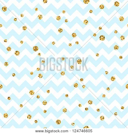 Golden polka dot seamless pattern. Gold confetti glitter zigzag. Geometric blue and white zig zag texture. Valentine day or christmas design for card wallpaper wrapping textile. Vector Illustration