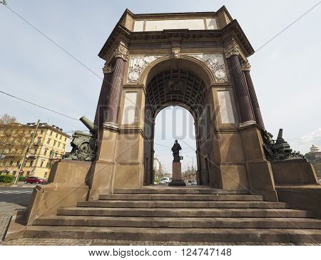 Arco del Valentino (meaning Arch of Valentino park) dedicated to the artillery designed by Pietro Canonica in 1930 in Turin Italy