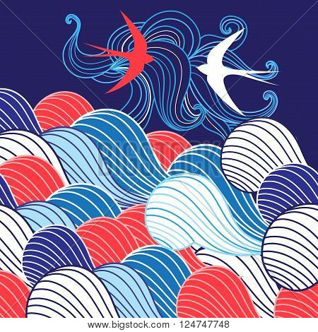 Beautiful abstract background with different waves and swallows in the sky