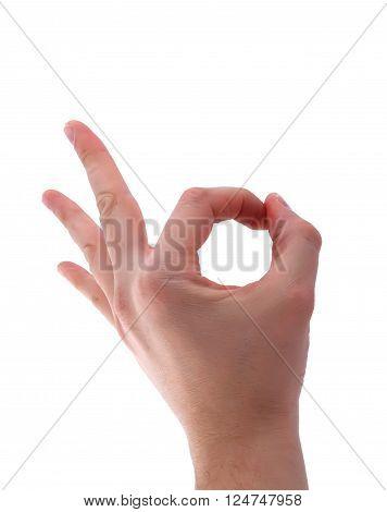 Ok hand sign isolated on white background