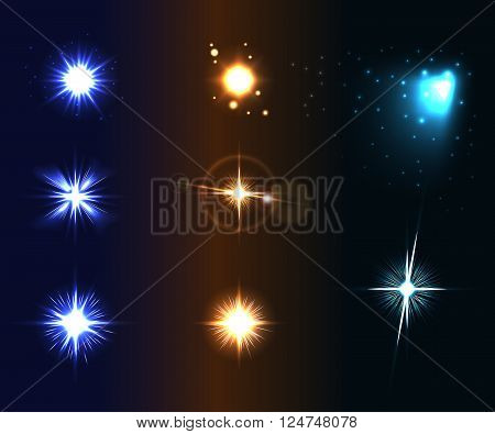 Shine disco color stars. Flare and sparkles colorful icons set. Effect twinkle glare magic glow graphic light. Burst and blur design elements on dark background. Varied template Vector illustration