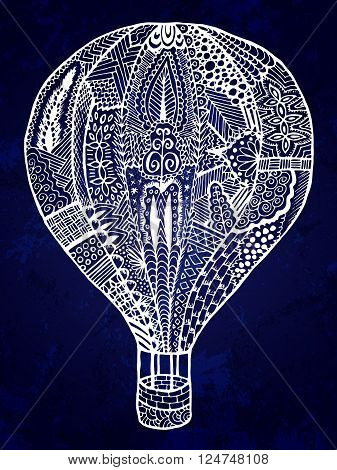 Air ballon zentangle illustration. Hand drawn doodle air ballon. Colorful vector image can be used for web design textile cloth wedding and romantic cards printed products and other.