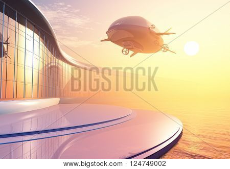 Modern airship and building on the shore.,3d render