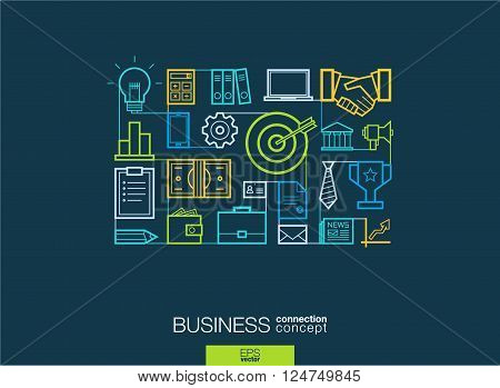 Business integrated thin line symbols. Modern linear style vector concept, with connected flat design icons. Illustration for strategy, service, analytics, research, career, digital marketing concepts