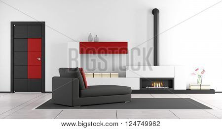 Contemporary living room with fireplace,chaise lounge and closed door - 3d rendering