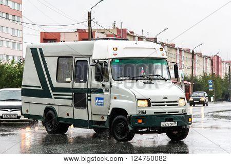 NOVYY URENGOY, RUSSIA - AUGUST 20, 2012: Cargo van KAvZ 3244 Bychok in the city street.