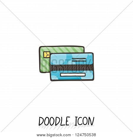 Credit Card Doodle Icon. Vector Business and Shopping Symbol.