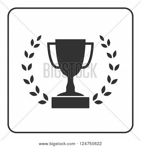 Trophy cup with Laurel wreath icon. Award sport sign. Symbol of winner competition champion best victory emblem. Gray sign in frame on white background. Isolated design element. Vector illustration