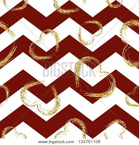 Golden sketch hearts seamless pattern. Gold glitter and red zigzag background Geometric wave zig zag texture. Valentine day or wedding design for card wrapping wallpaper textile Vector Illustration