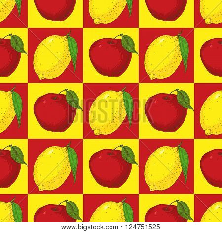 Seamless Pattern with Red Apples on a Yellow Background and Yellow Lemons on a Red Background