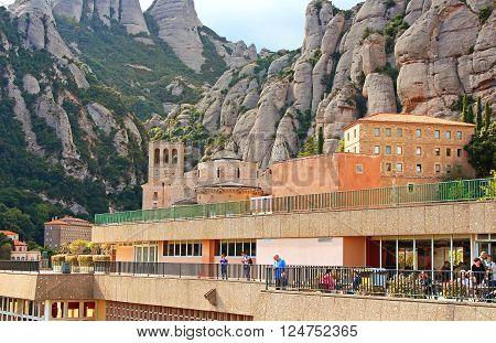 MONTSERRAT, SPAIN - OCTOBER 7, 2013: Santa Maria de Montserrat Abbey, Catalonia, Spain