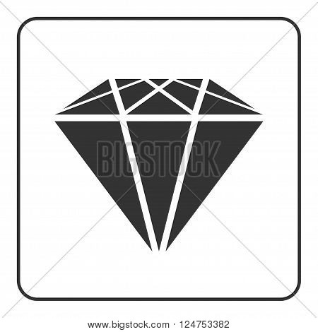 Diamond icon. Crystal sign. Brilliant stone. Black silhouette isolated on white background. Flat fashion design element. Symbol gift jewel gem or royal rich expensive success. Vector Illustration