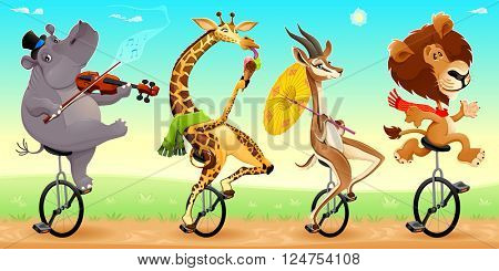 Funny wild animals on unicycles. Vector cartoon illustration