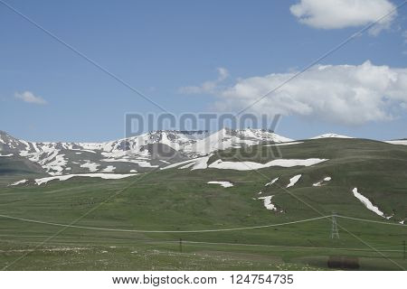 snowy mountain peaks rising out of the Anatolian plain view