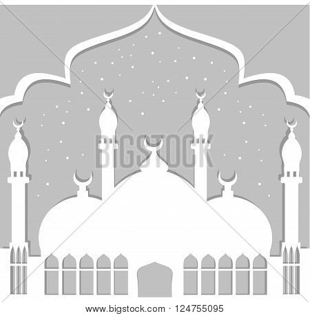 Greeting card in Arabic style. An Eastern city with minarets and