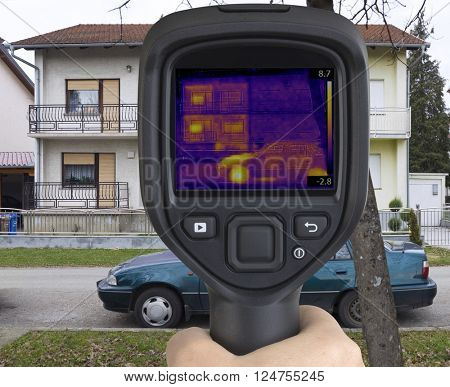 Thermal Image of House Facade