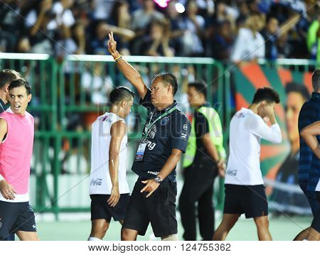 Bangkok,thailand-feb 3,2014 : Newin Chidchob President Of Buriram United  In Action During The Compe