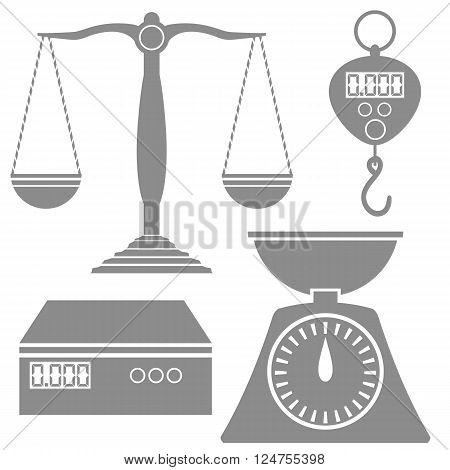 Set of Different Weighind Scales Icons Isolated on White Background