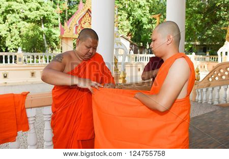 Nakhonnayok-thailand ,july 3 ,2015: Series Of The Ordination Ceremony That Change The Thai Young Men
