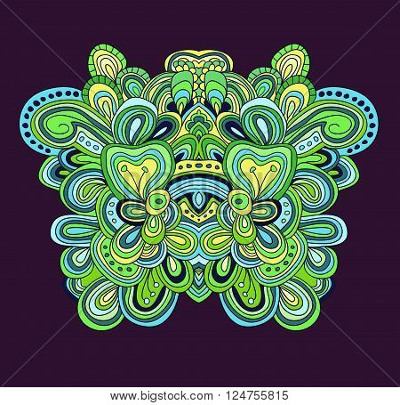 Colored lined pattern with many details. Hand drawn tracery.